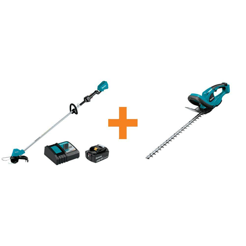 Makita 18-Volt LXT Brushless String Trimmer Kit with 1 Battery and Charger with Bonus 22 in. LXT Cordless Hedge Trimmer