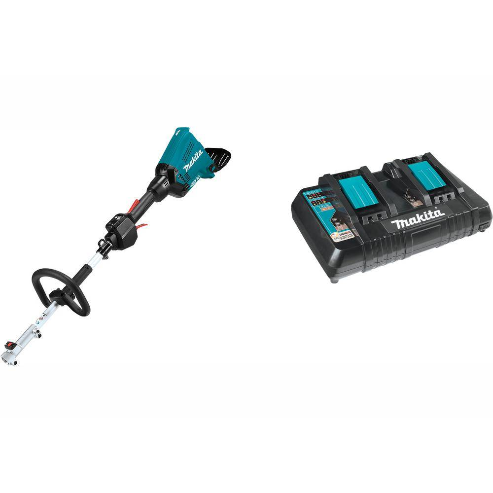 Makita 18-Volt X2 (36-Volt) LXT Brushless Couple Shaft Power Head (Tool-Only) with 18-Volt LXT Dual Port Rapid Optimum Charger