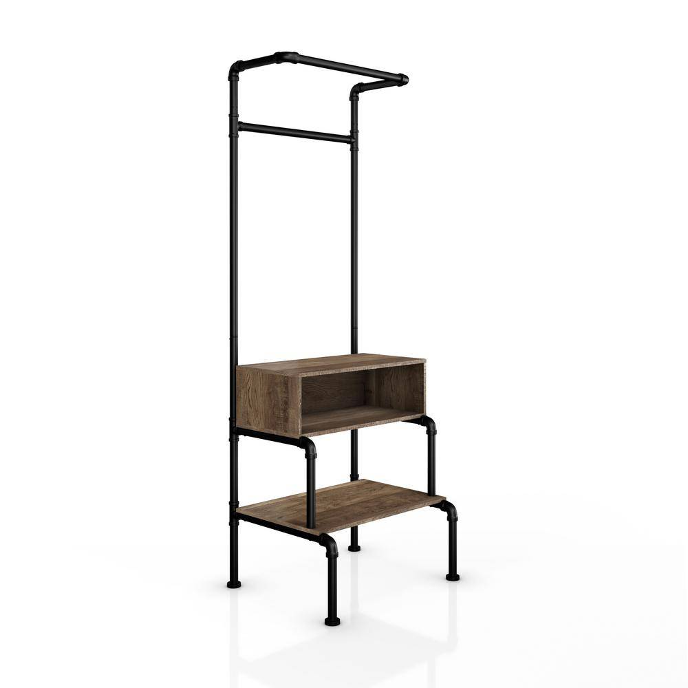 Furniture of America Ade Reclaimed Oak Clothes Rack With Shelves