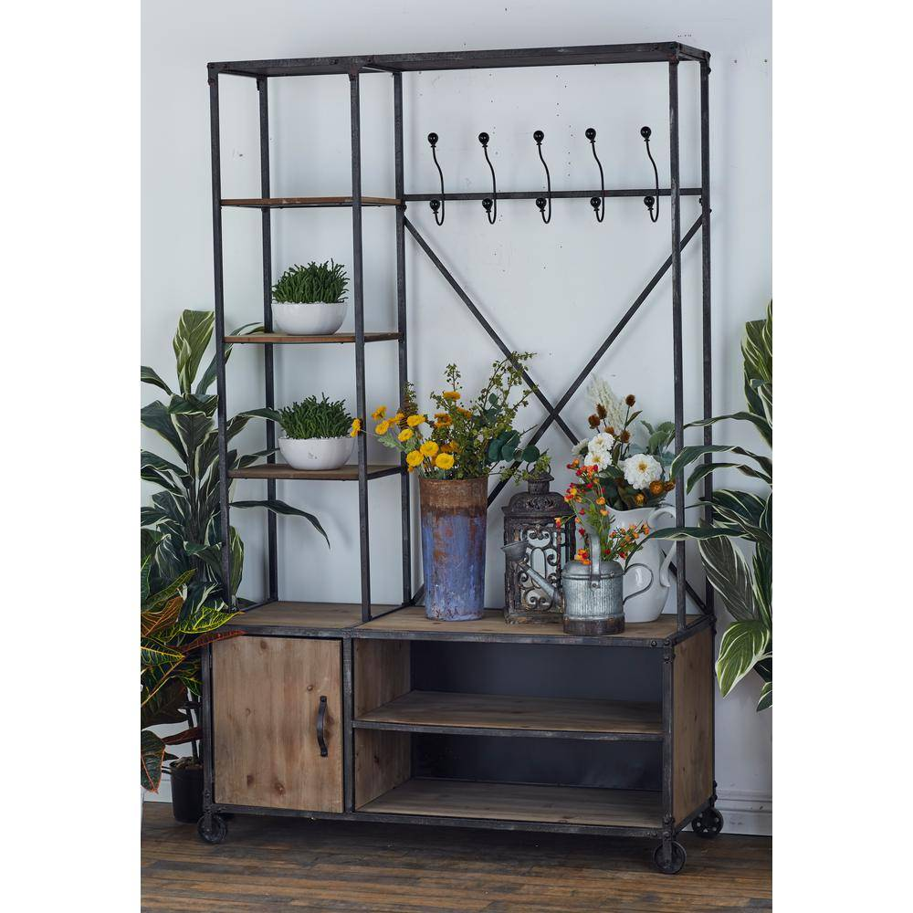 LITTON LANE Brown Wooden Metal Clothes Rack with Multi-Tiered Compartments