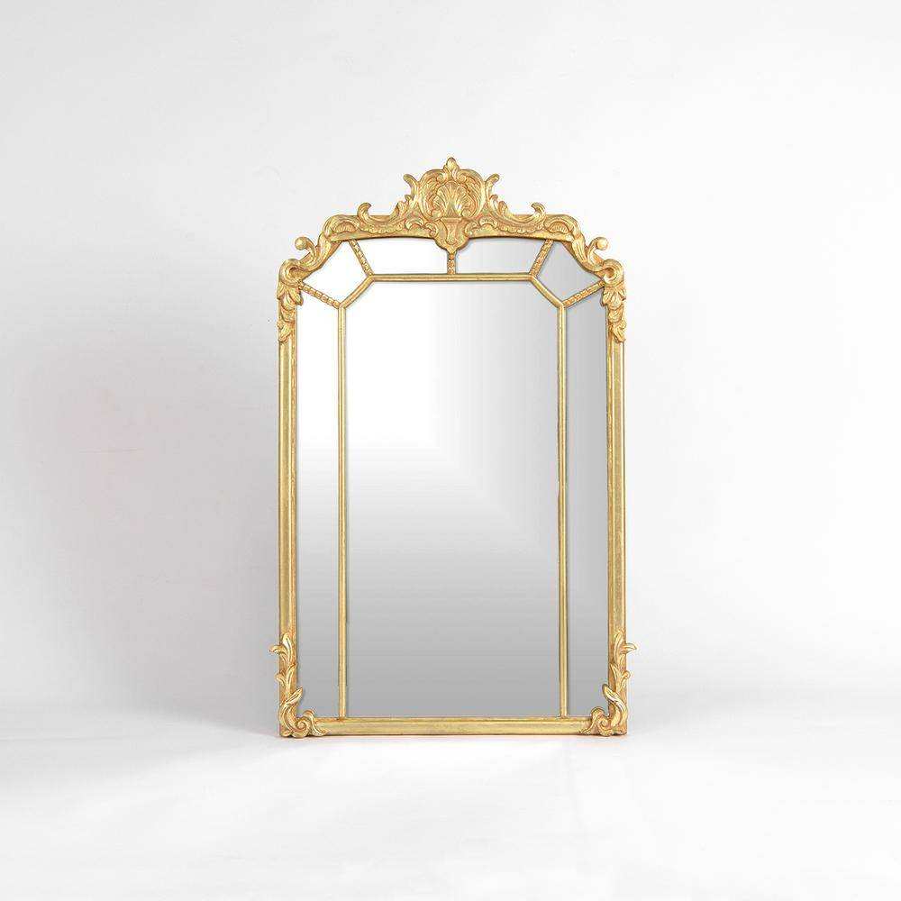 Best Home Fashion Medium Arch Gold Painted Wood Classic Mirror (40 in. H x 24 in. W)