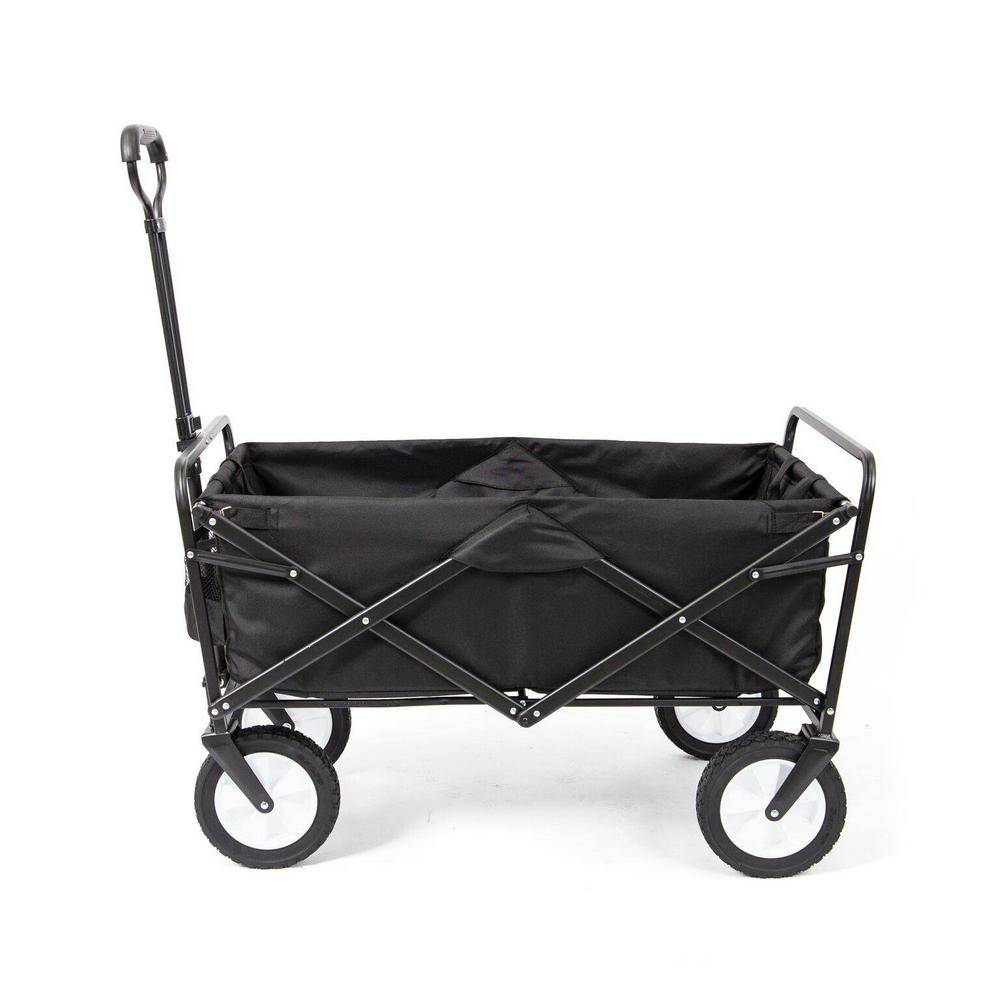 Mac Sports Collapsible Folding Frame Outdoor Garden Utility Wagon Cart in Black (3-Pack)