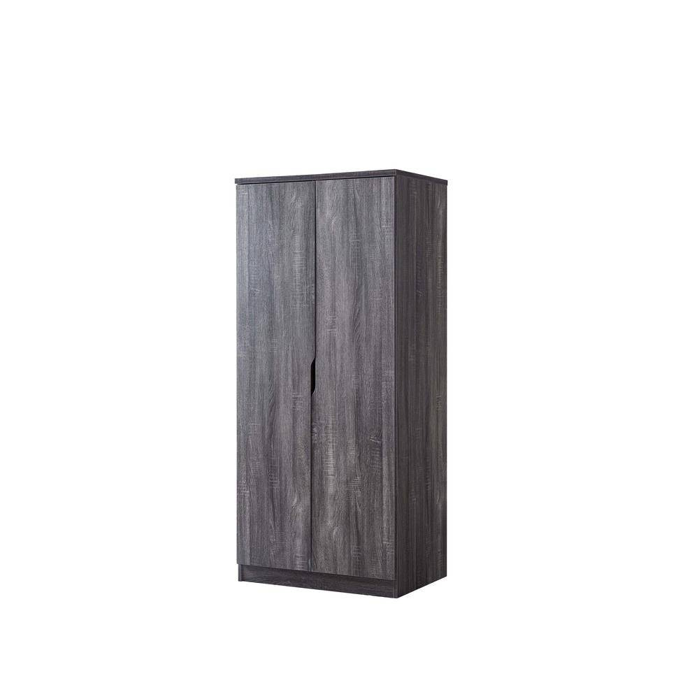 Furniture of America Alwin Distressed Gray Wardrobe Armoire With Hanging Clothes Rod And 1-Shelf