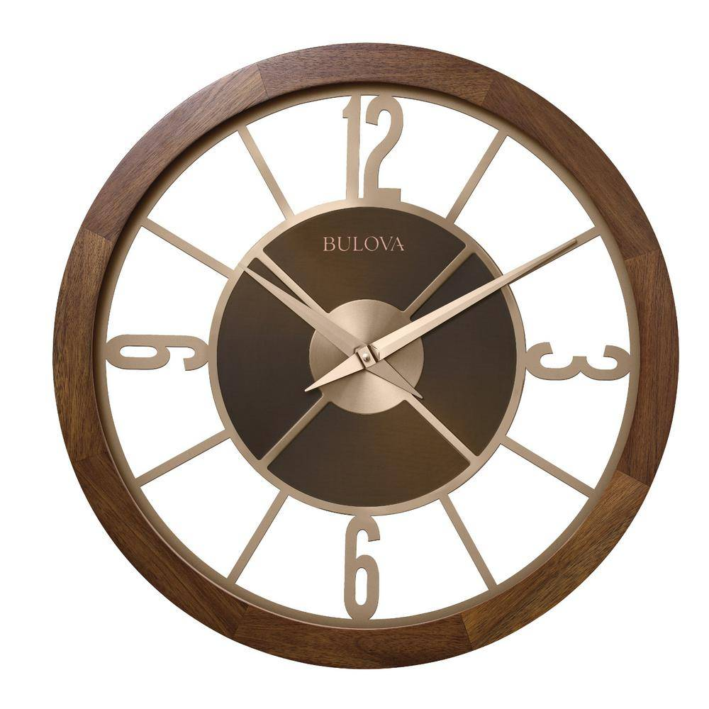 Bulova Indoor/Outdoor 26 in. Gallery Clock with Bluetooth stereo, Brown