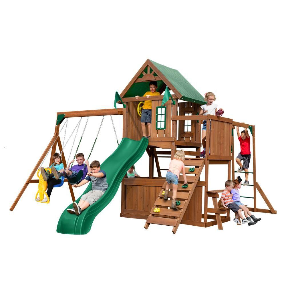 Swing-N-Slide Playsets Knightsbridge Plus Wood Complete Swing Set with Monkey Bars