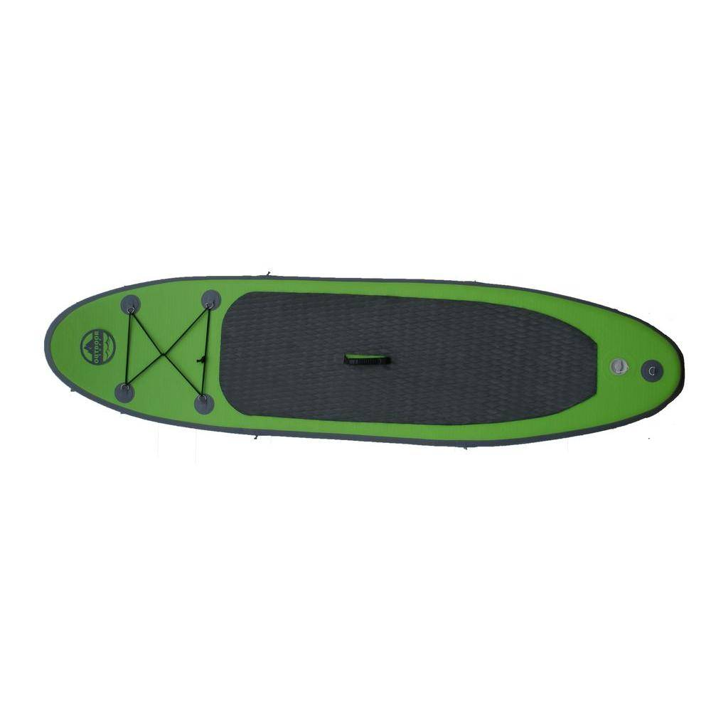 Outdoor Tuff 8 ft. Green PVC SUP Inflatable Backpack Paddle Board with Adjustable Paddle