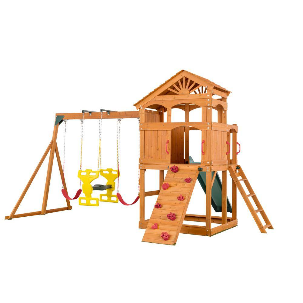 Creative Labs Cedar Designs Timber Valley Playset Green Slide and Red Accessories-(Choose from 6 Accessory Colors)