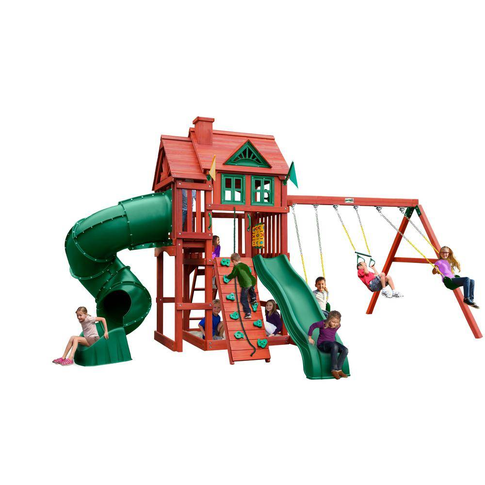 Gorilla Playsets Nantucket Deluxe Wooden Playset with Tube Slide, Rock Climbing Wall and Accessories
