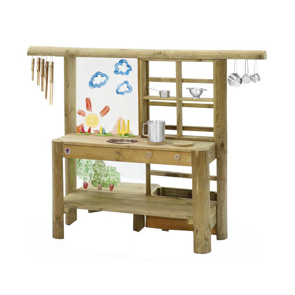 PLUM Discovery Wooden Mud Pie Kitchen, Natural Wood