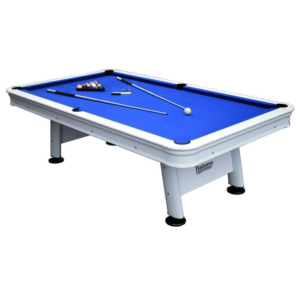 Hathaway Alpine 8 ft. Outdoor Pool Table with Aluminum Frame and Waterproof UV-Resistant Felt Includes Accessories