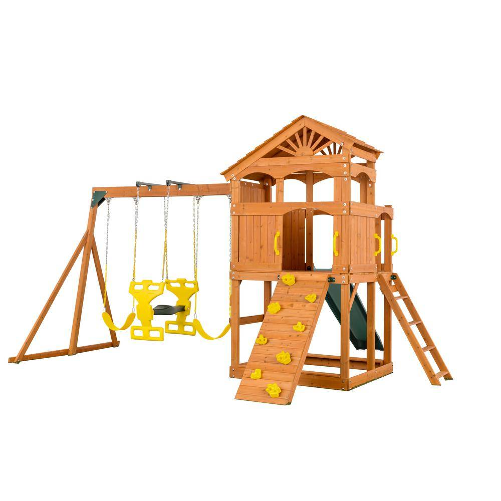 Creative Labs Cedar Designs Timber Valley Playset - Green Slide and Yellow Accessories-(Choose from 6 Accessory Colors)
