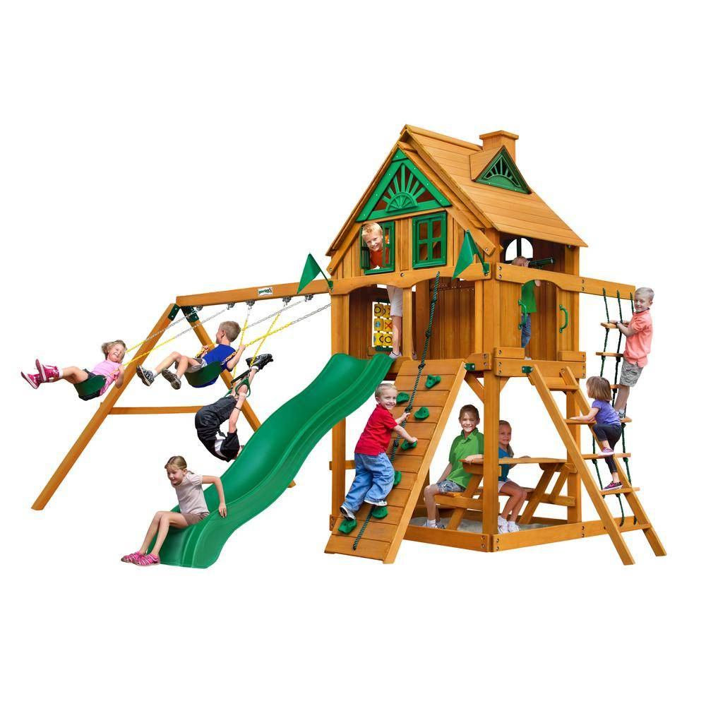 Gorilla Playsets Chateau Treehouse Wooden Swing Set with Fort Add-On and Picnic Table