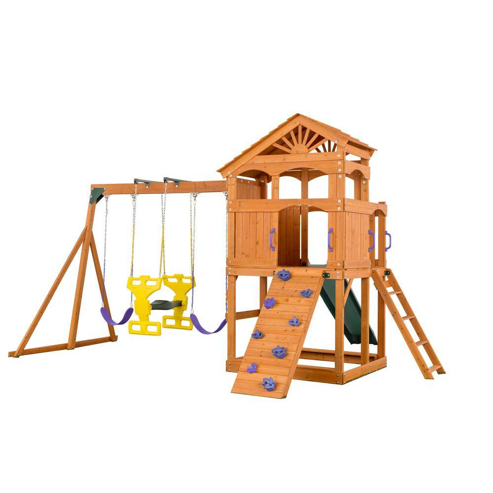 Creative Labs Cedar Designs Timber Valley Playset - Green Slide and Purple Accessories-(Choose from 6 Accessory Colors)