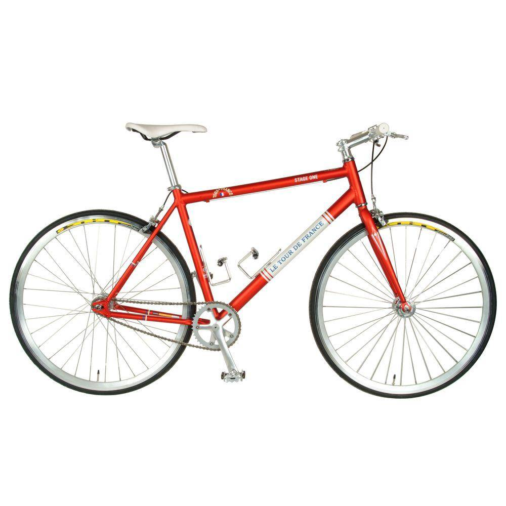 Tour de France Stage One Vintage Fixie Bicycle, 700c Wheels, Men's Bike, 45 cm Frame in Red, Reds / Pinks