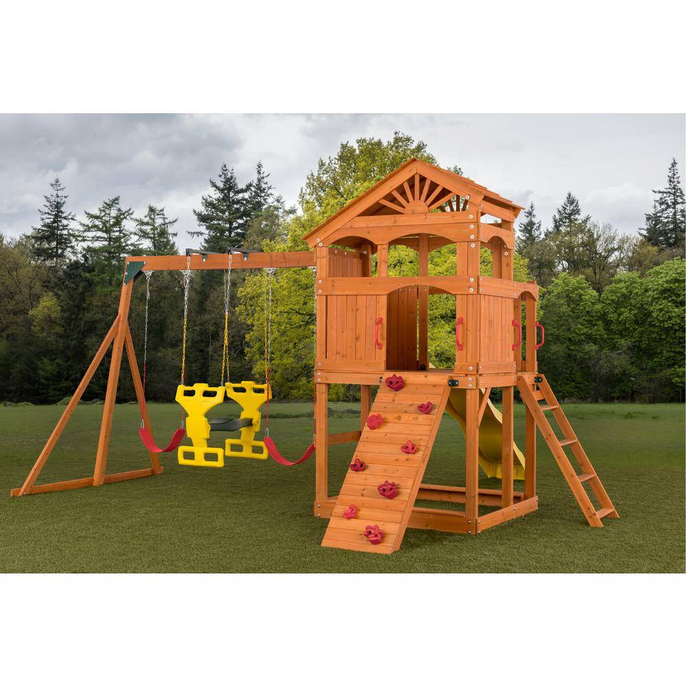 Creative Labs Cedar Designs Timber Valley Swing Set with Red Accessories-(Choose from 6 Accessory Colors)