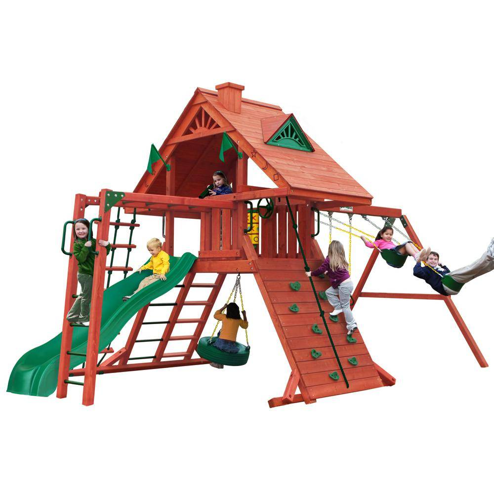 Gorilla Playsets Sun Palace II Wooden Swing Set with Monkey Bars
