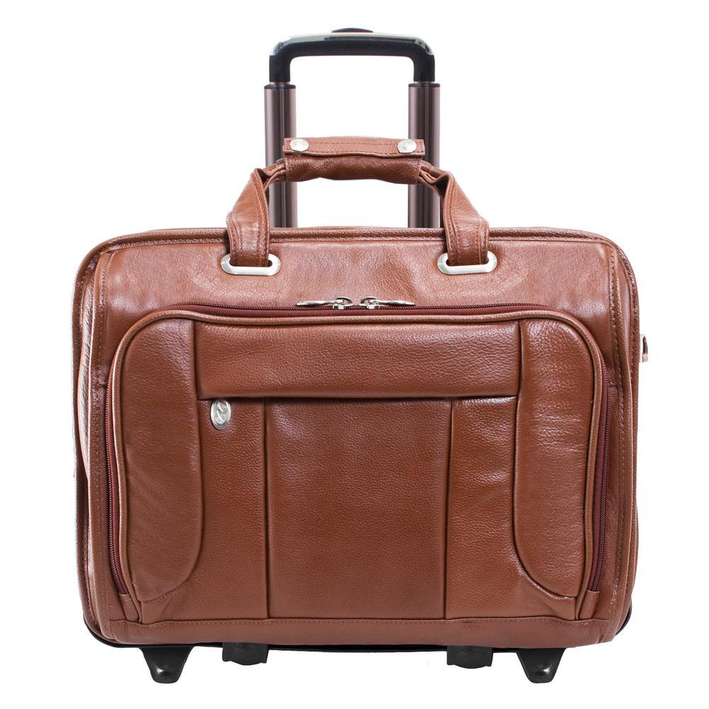 McKleinUSA McKlein WEST TOWN, Pebble Grain Calfskin Leather, 15 in. Checkpoint-Friendly Detachable -Wheeled Laptop Briefcase(15704), Brown