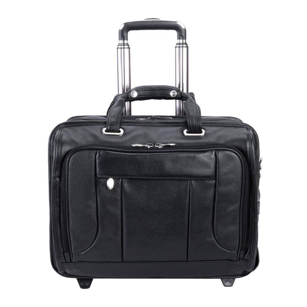 McKleinUSA McKlein WEST TOWN, Pebble Grain Calfskin Leather, 15 in. Checkpoint-Friendly Detachable -Wheeled Laptop Briefcase(15705), Black