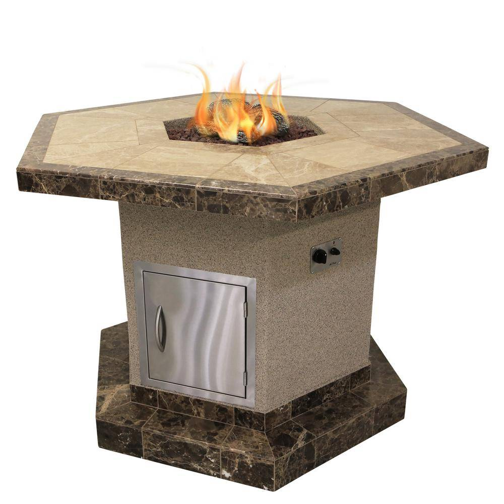 Cal Flame Stucco and Tile Dining Height Square Propane Gas Fire Pit with Log Set and Lava Rocks, Brown