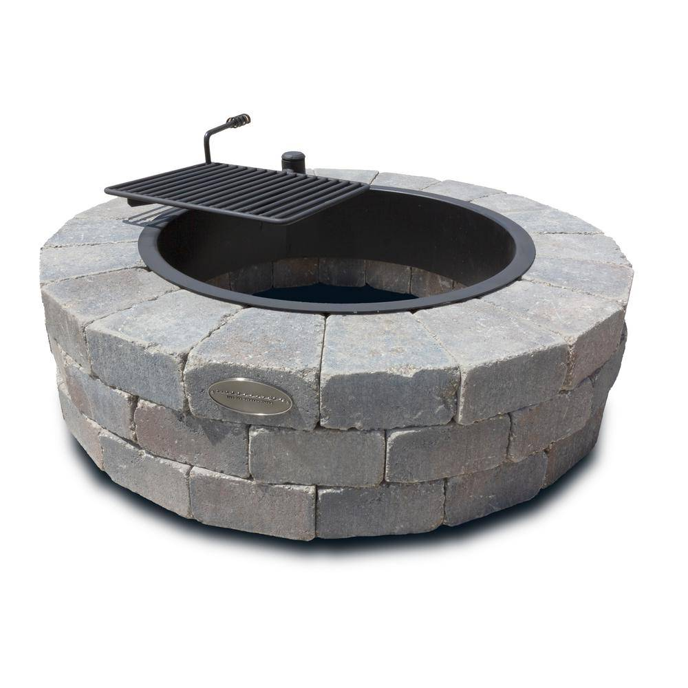 Necessories Grand 48 in. Fire Pit Kit in Bluestone with Cooking Grate