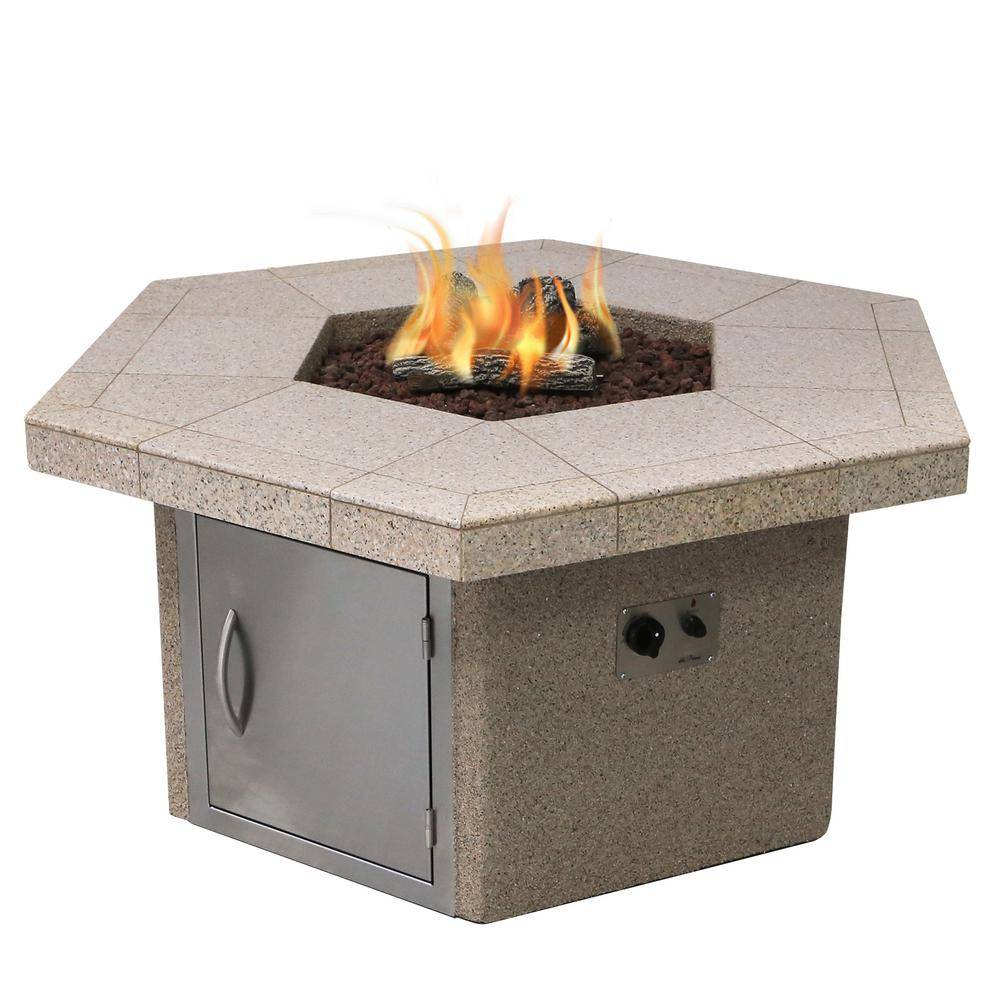 Cal Flame Stucco and Tile Dining Height Square Gas Fire Pit with Log Set and Lava Rocks, Brown