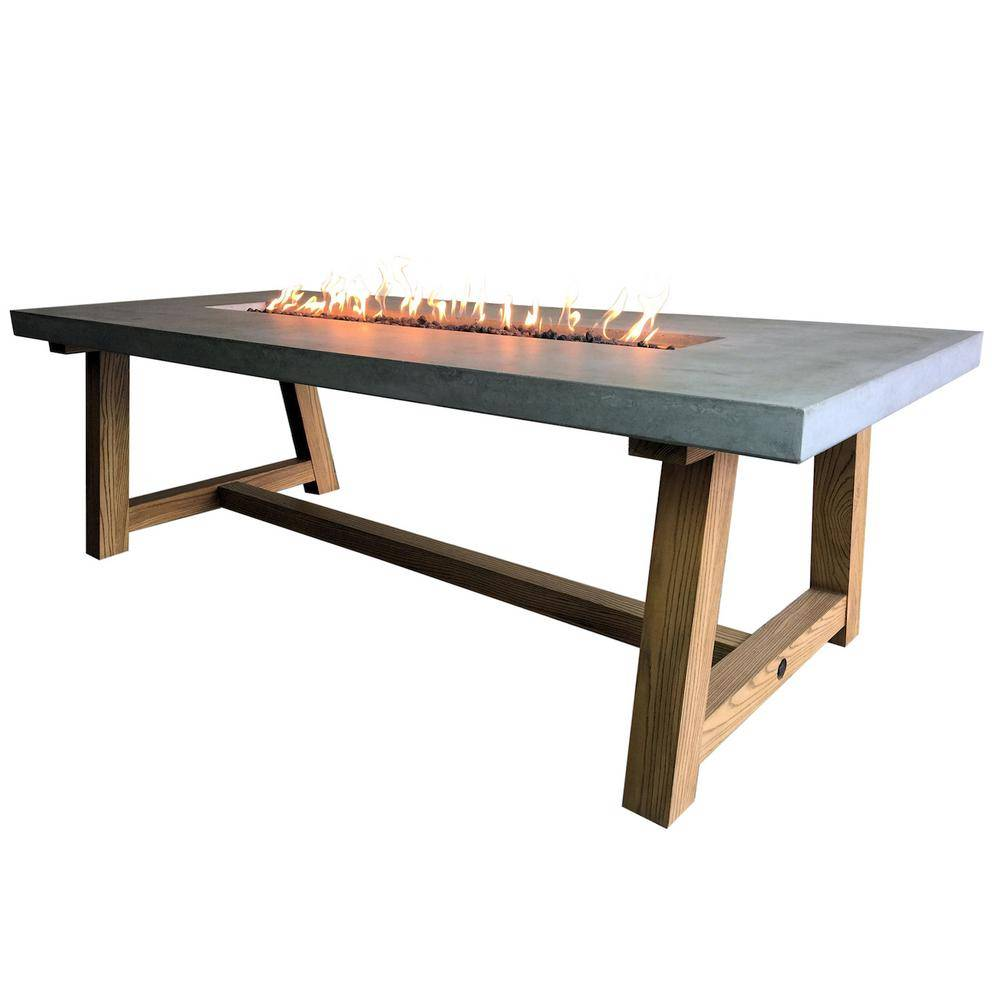 Elementi Workshop Dining 40 in. x 31 in. Rectangular Concrete Natural Gas Fire Pit Table with Burner and Lava Rock, Grey