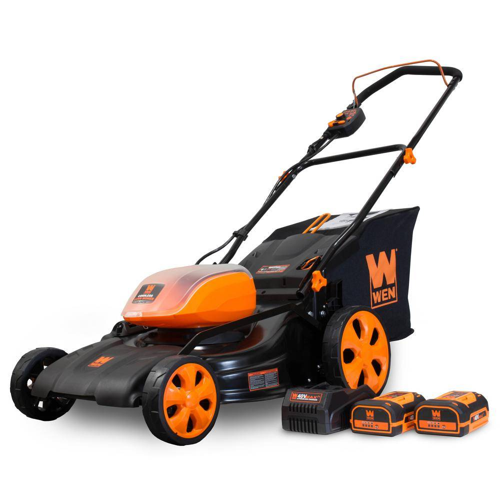 WEN 19 in. 40-Volt Max Lithium-Ion Cordless Battery 3-in-1 Walk Behind Push Lawn Mower - Two Batteries/Charger Included