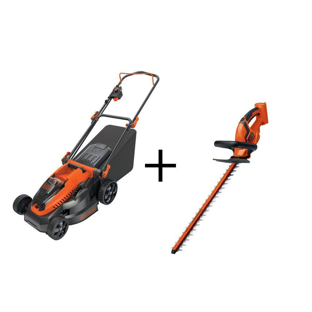 Black & Decker 40-Volt MAX Lithium-Ion Cordless 16 in. Walk Mower and Hedge Trimmer Combo Kit (2-Tool) with 2.0Ah Batteries and Charger