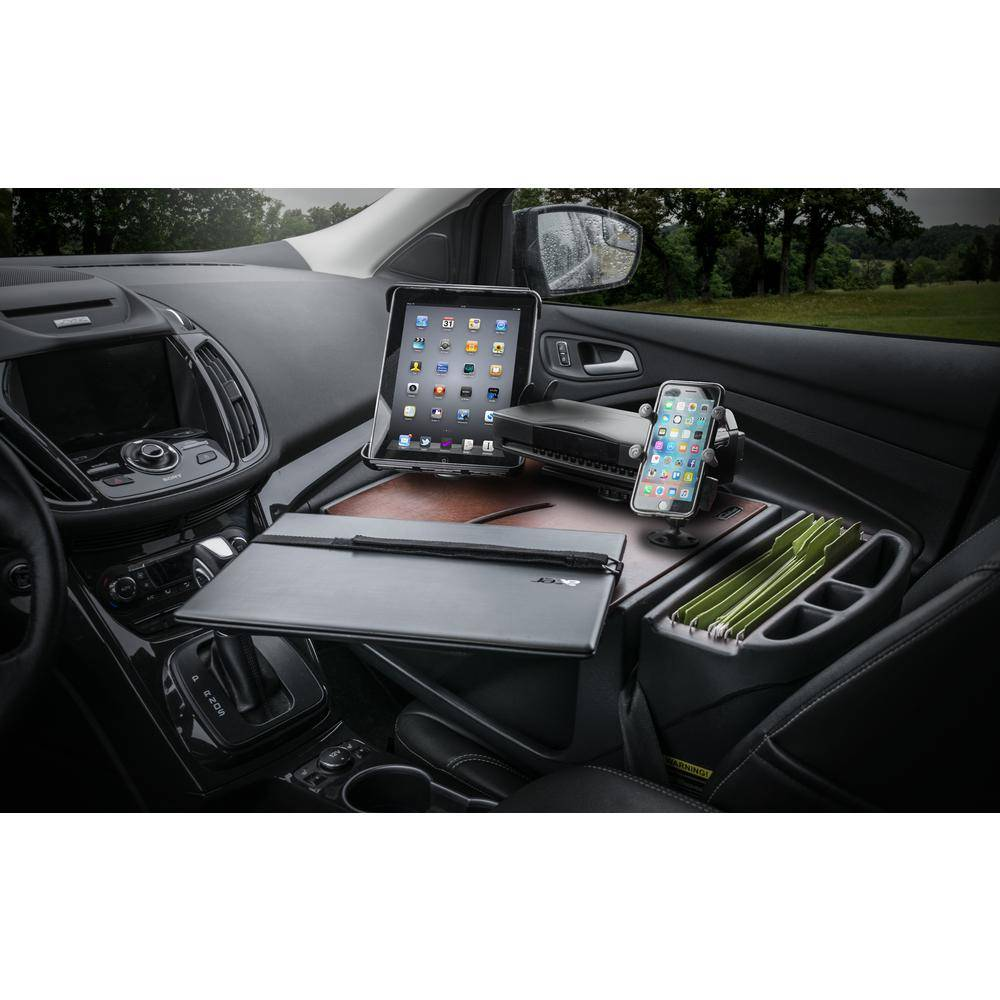 AutoExec Roadmaster Car Desk with Inverter, Phone Mount, Tablet Mount and Printer Stand Mahogany