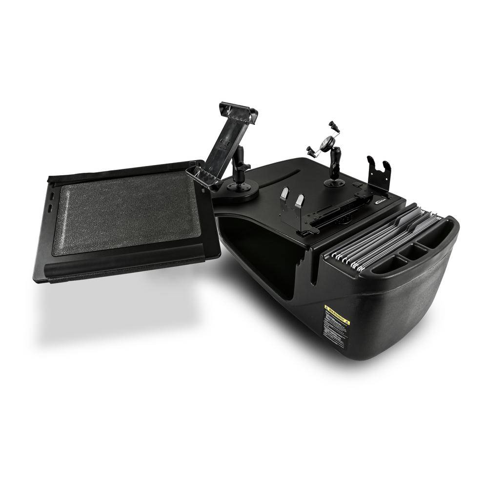AutoExec Reach Desk Front Seat Black with Printer Stand, X-Grip Phone Mount and iPad/Tablet Mount