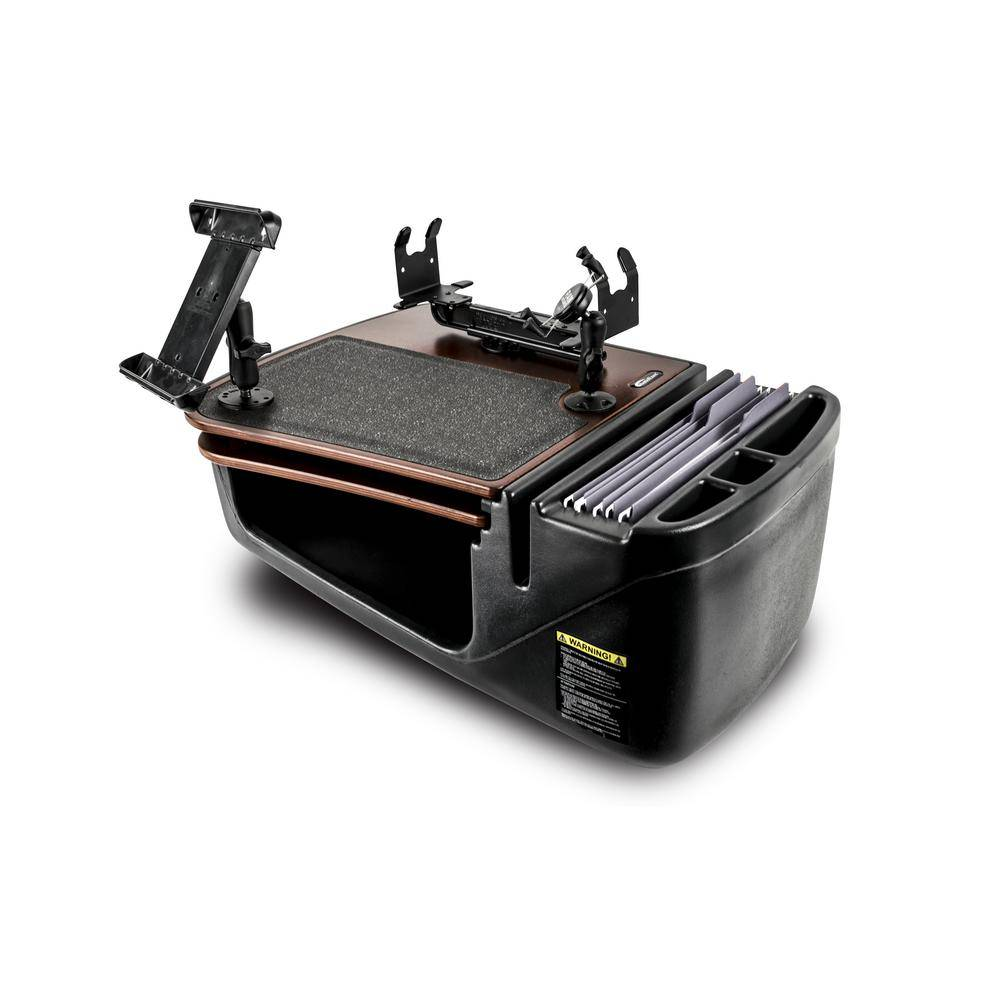 AutoExec Gripmaster with Built-in Power Inverter Printer Stand Phone Mount and Tablet Mount Mahogany