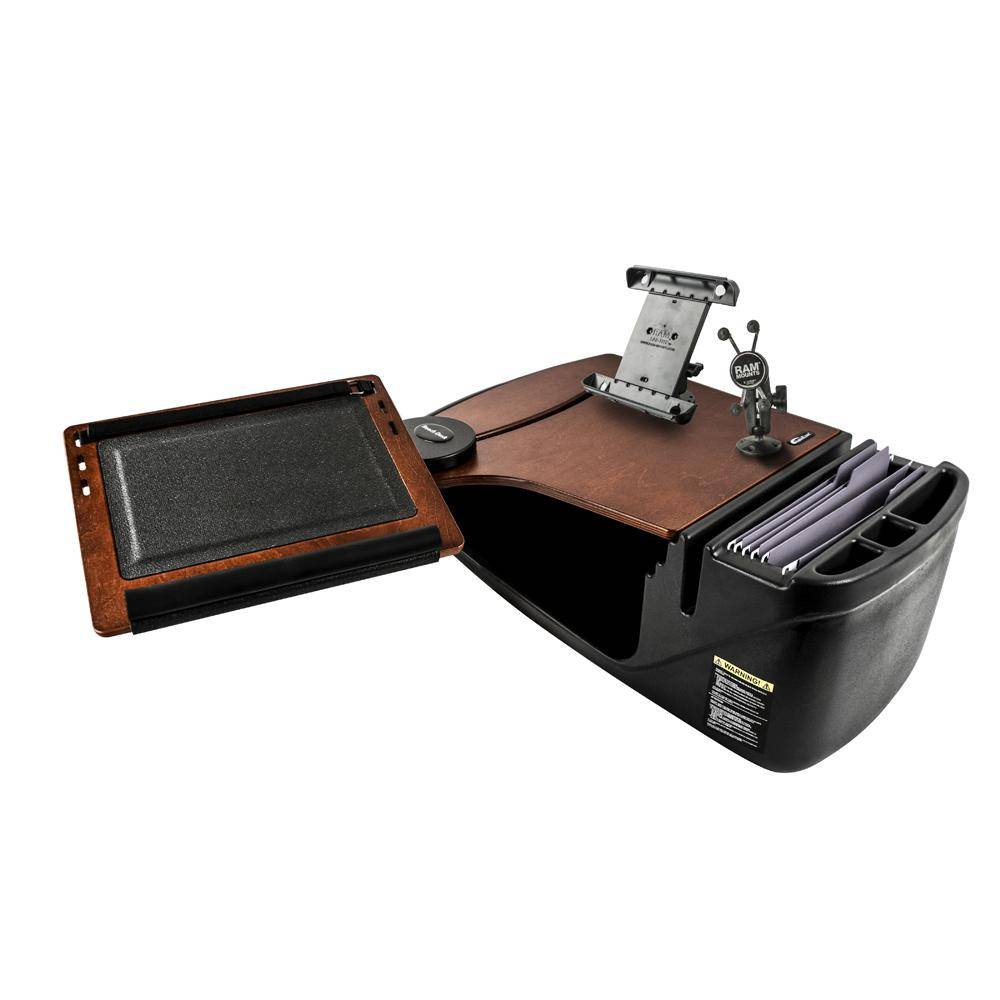 AutoExec Reach Desk Front Seat Mahogany with X-Grip Phone Mount and iPad/Tablet Mount