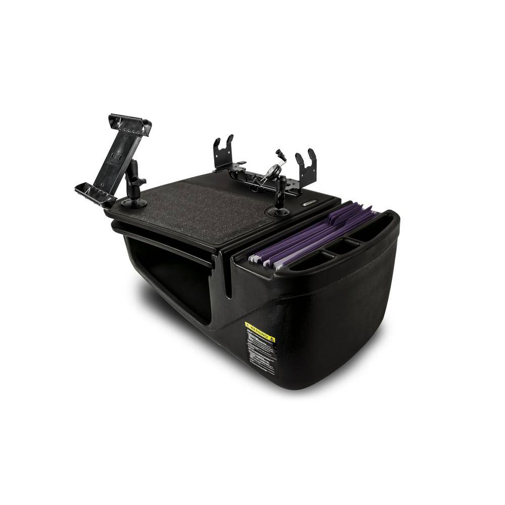 AutoExec Gripmaster with Built-in Power Inverter Printer Stand Phone Mount and Tablet Mount Black
