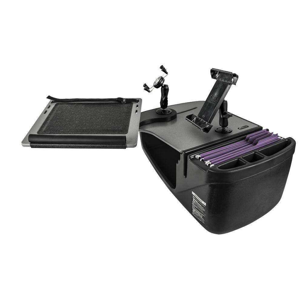 AutoExec Reach Desk Front Seat with X-Grip Phone Mount and iPad/Tablet Mount