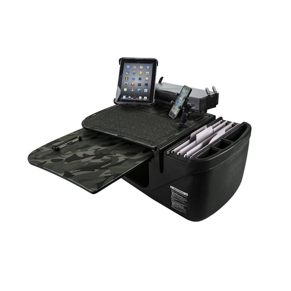 AutoExec GripMaster Green Camouflage Car Desk with Built-In Power Inverter, Printer Stand, X-Grip Phone Mount and Tablet Mount