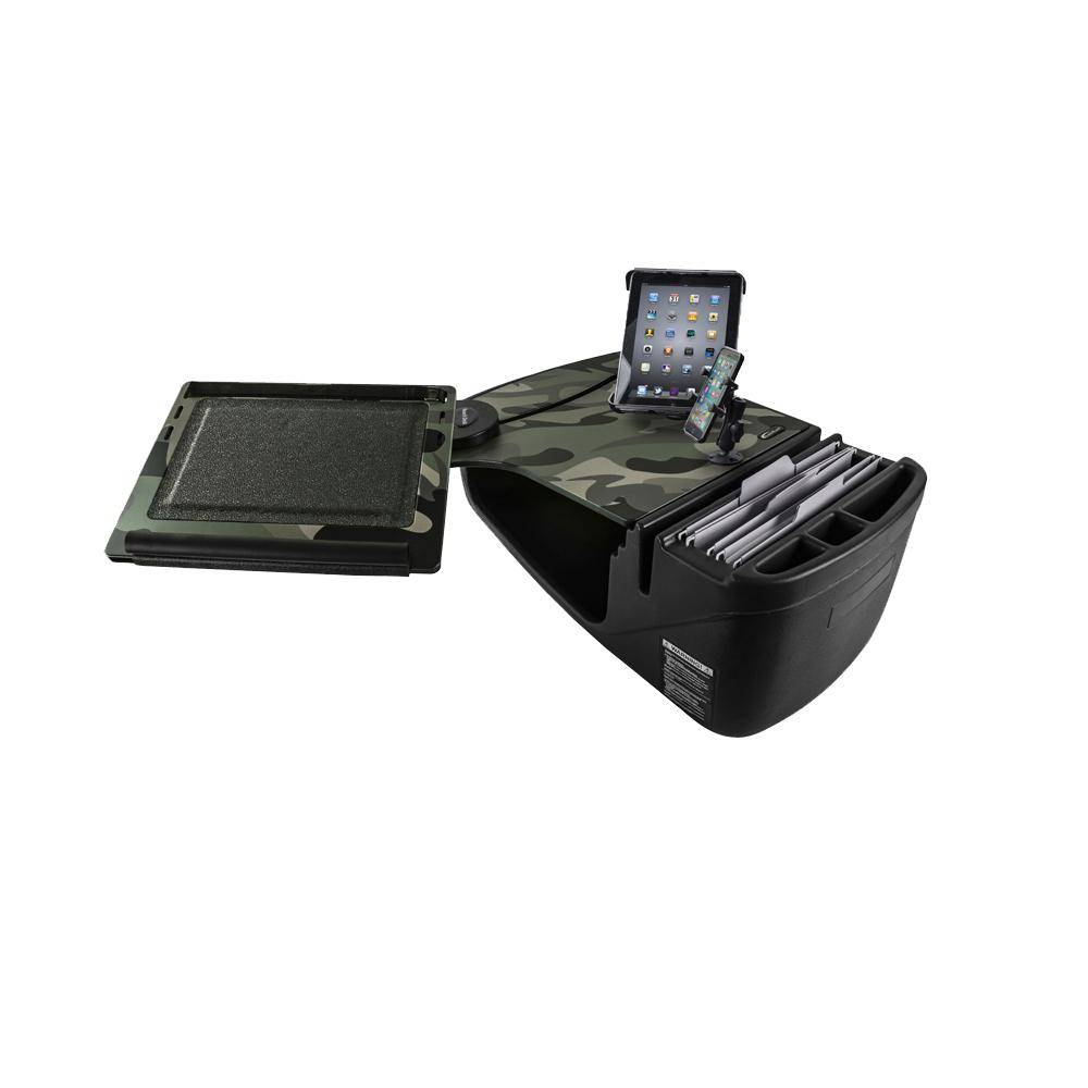 AutoExec Reach Desk Front Seat Car Desk in Green Camouflage with Phone Mount and Tablet Mount