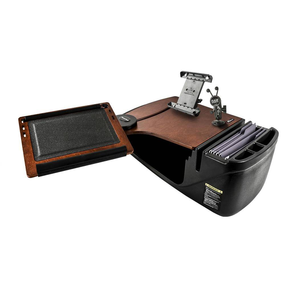 AutoExec Reach Desk Front Seat Mahogany with Built-in Power Inverter, X-Grip Phone Mount and iPad/Tablet Mount