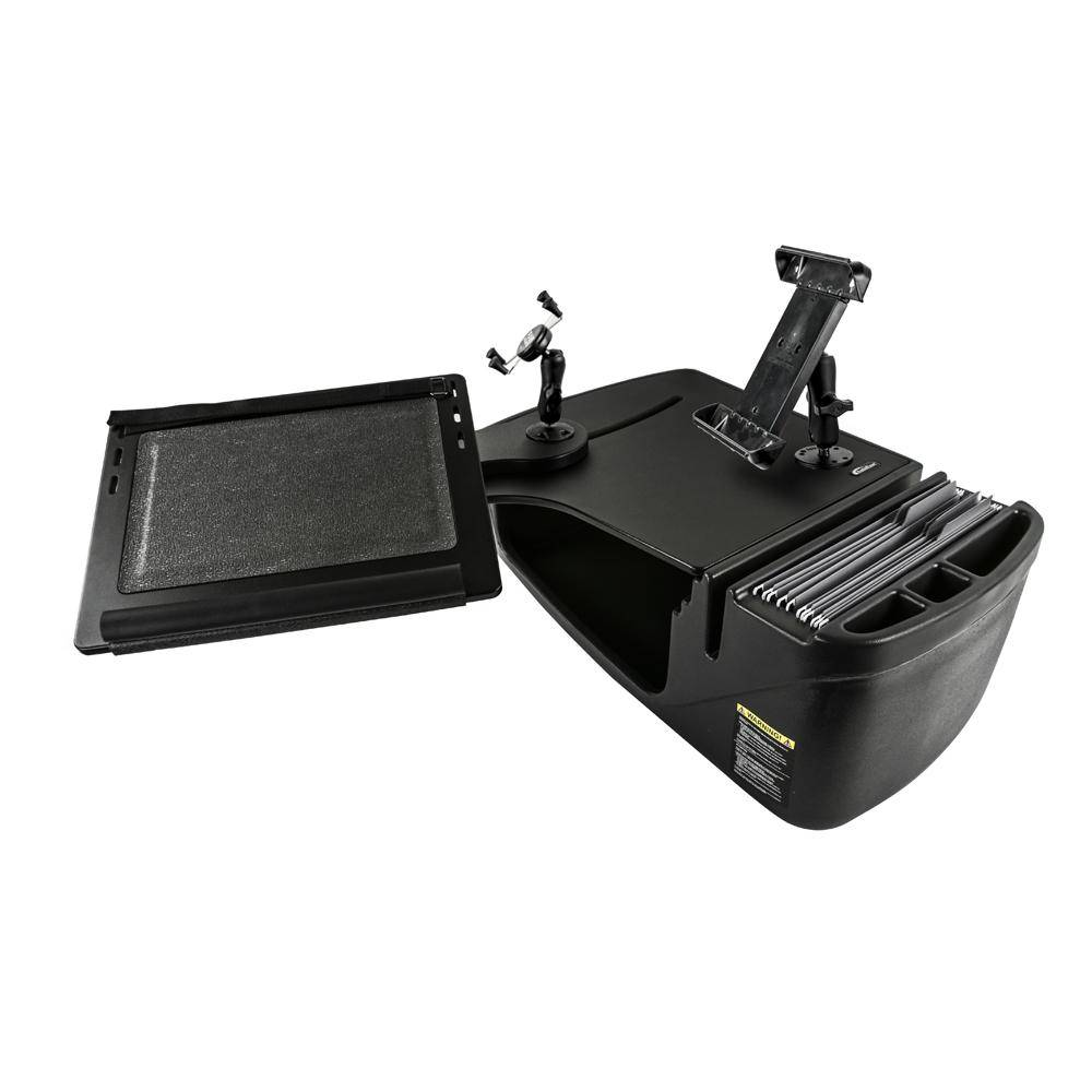 AutoExec Reach Desk Front Seat in Black with Built-in Power Inverter, X-Grip Phone Mount and iPad/Tablet Mount