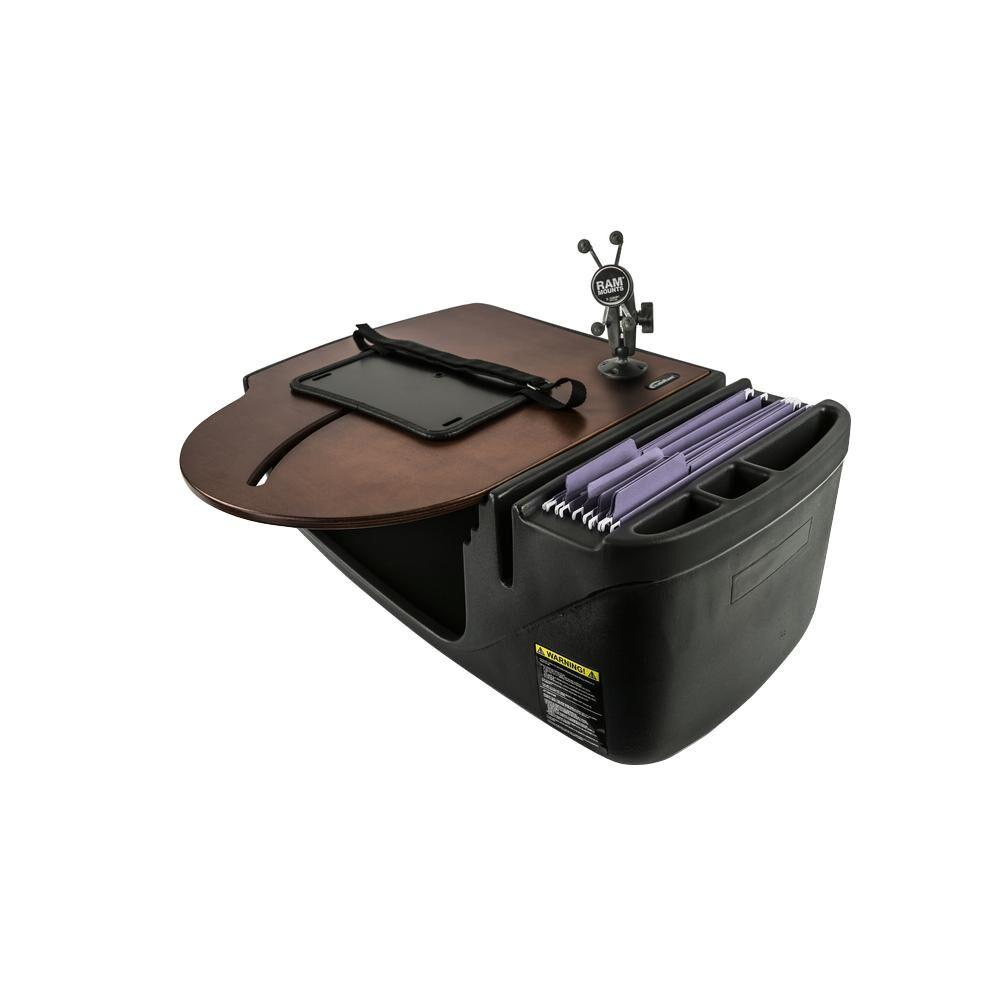 AutoExec Roadmaster Car Desk with Inverter and Phone Mount Mahogany