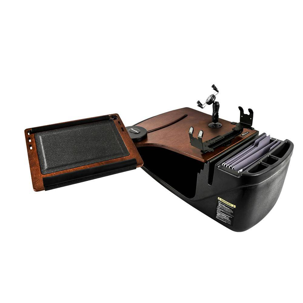 AutoExec Reach Desk Front Seat Mahogany with Phone Mount and Printer Stand