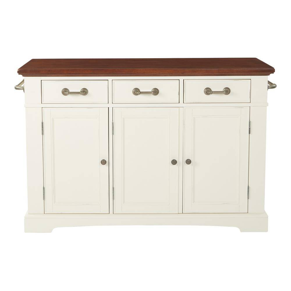 OSP Home Furnishings Farmhouse Basics White Kitchen Island with Vintage Oak and Granite Top, White/Vintage Oak