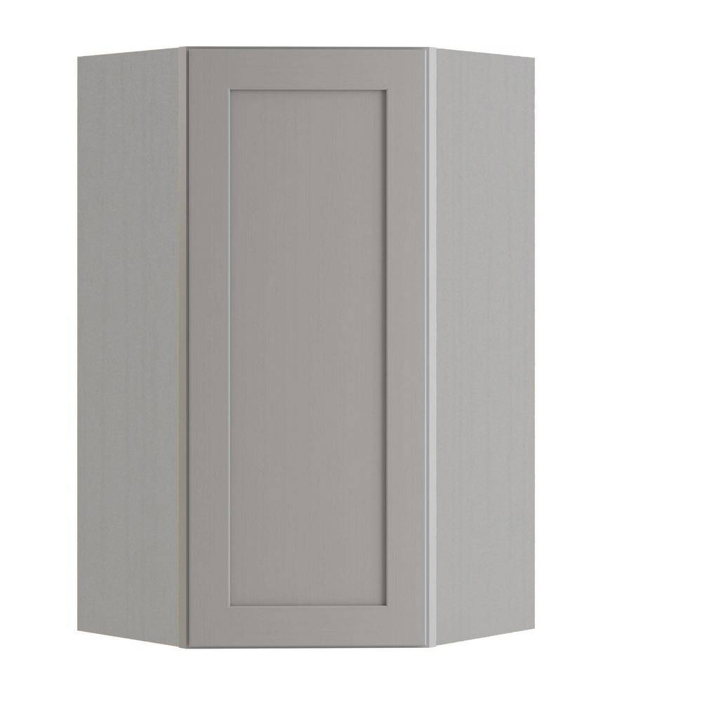 Home Decorators Collection Tremont Assembled 24x36x12 in. Plywood Shaker Wall Angle Corner Kitchen Cabinet Soft Close Left in Painted Pearl Gray, Gray Painted