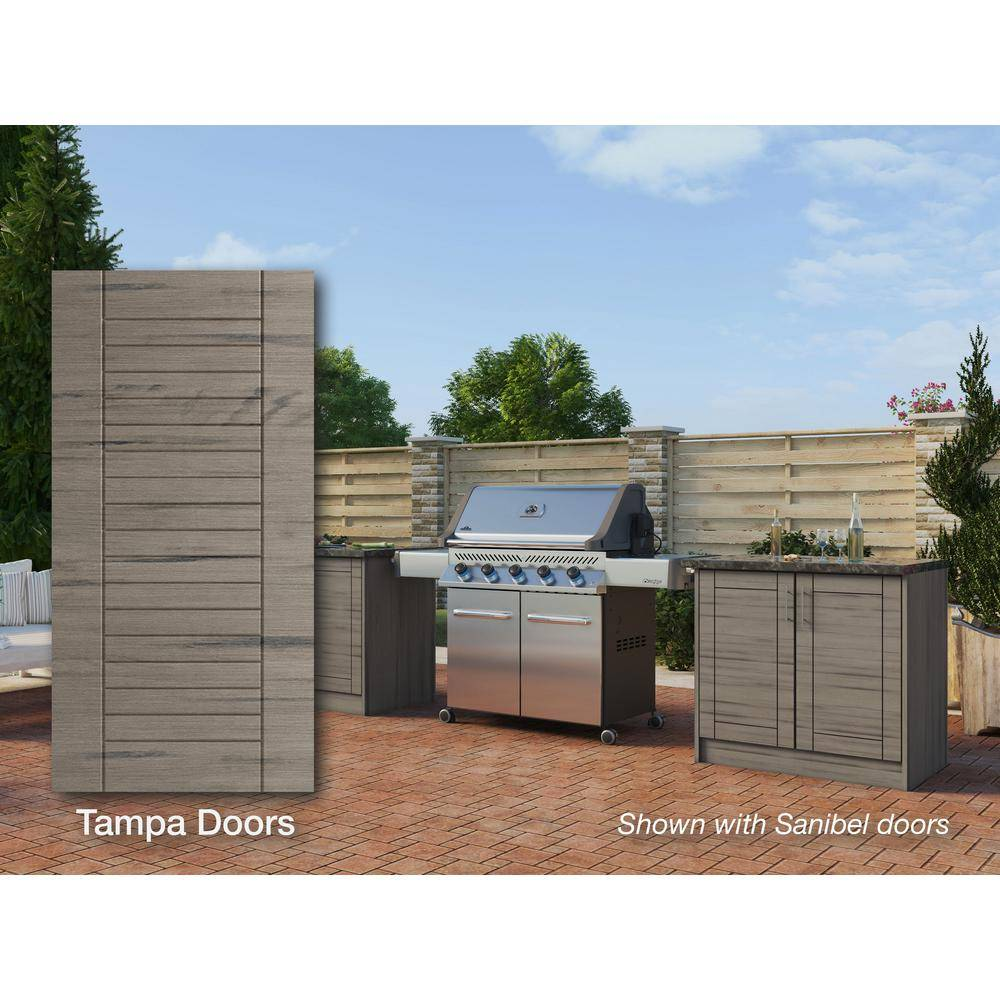 WeatherStrong Tampa Weatherwood 16-Piece 73.25 in. x 34.5 in. x 25.5 in. Outdoor Kitchen Cabinet Island Set