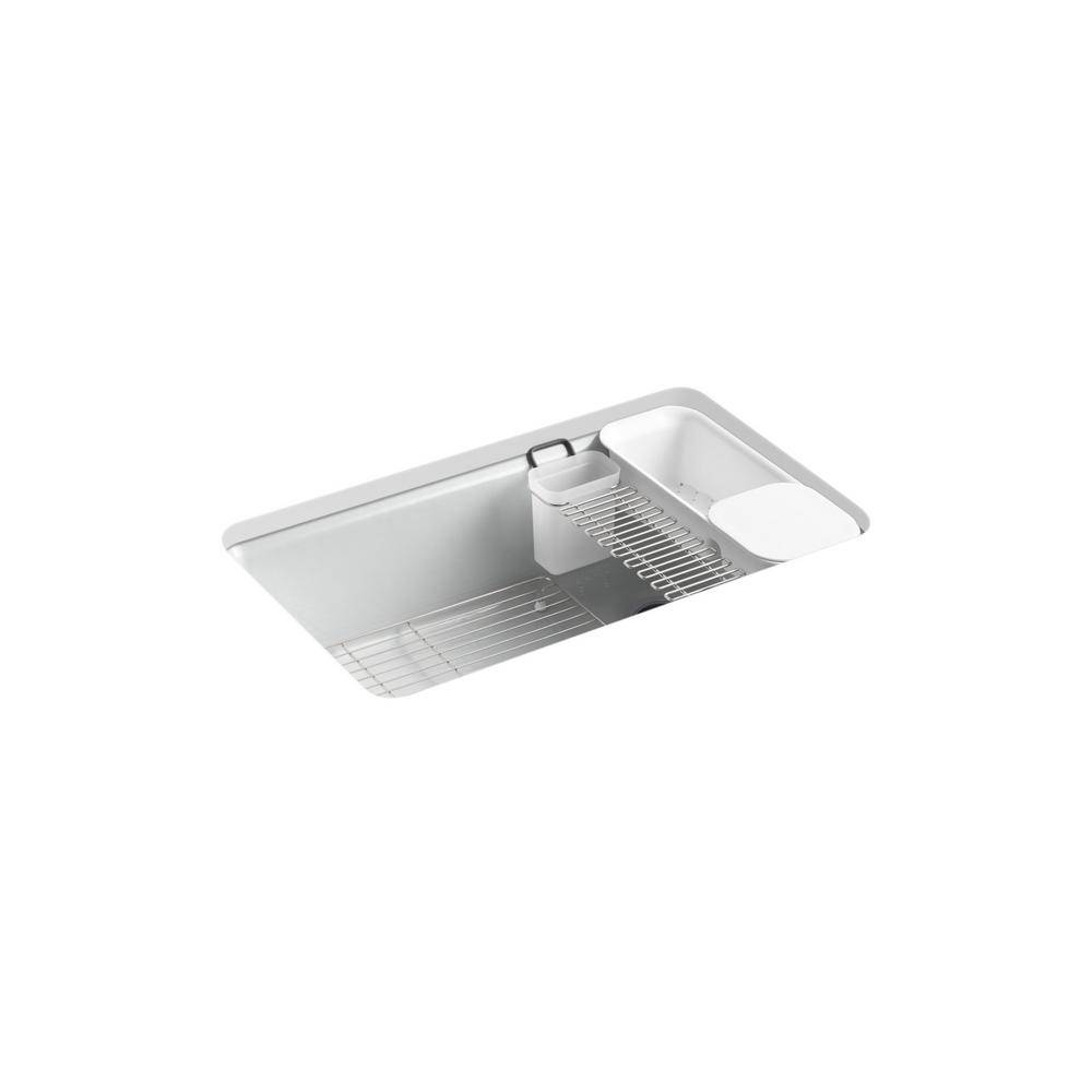 KOHLER Riverby Undermount Cast-Iron 33 in. 5-Hole Single Bowl Kitchen Sink Kit with Accessories in Ice Grey