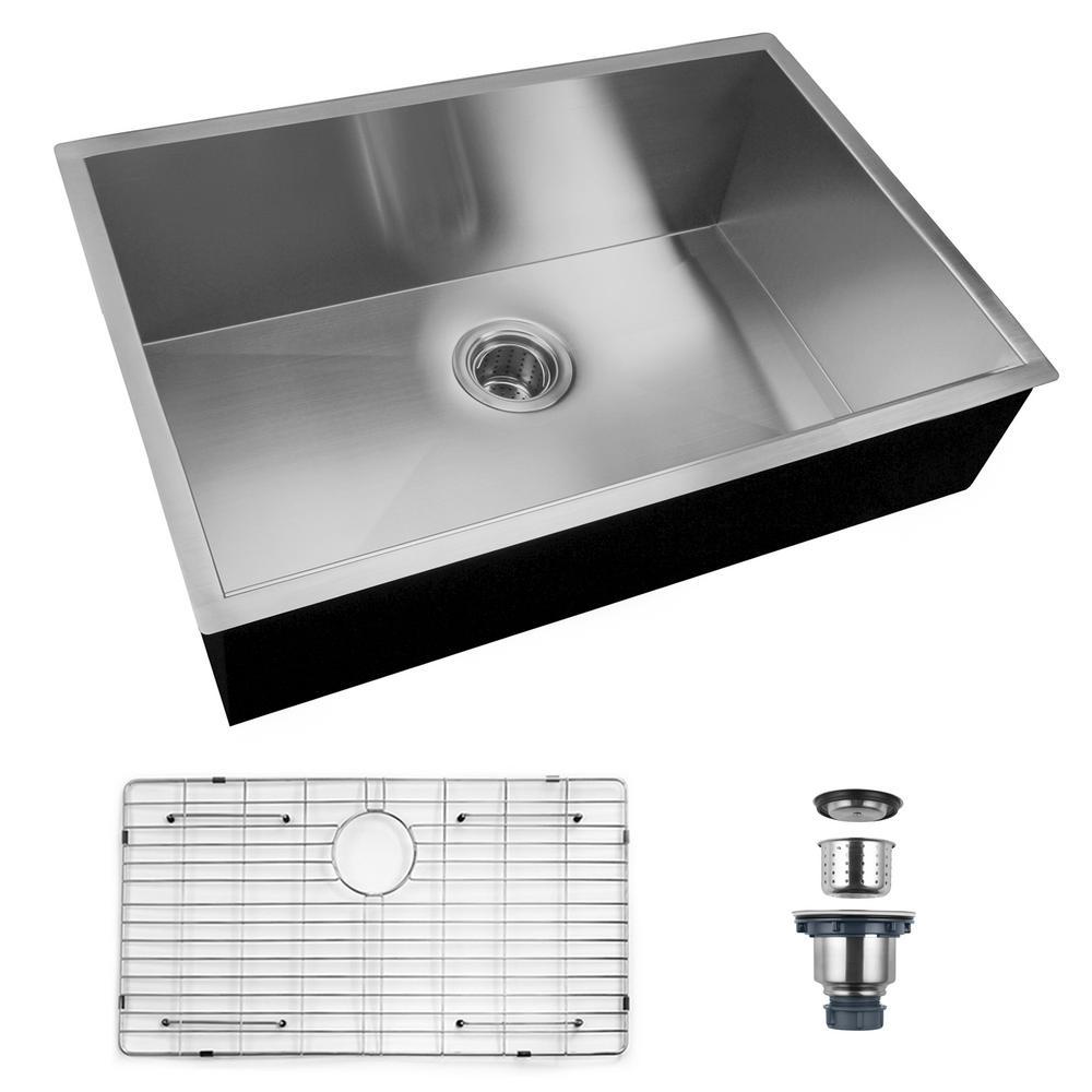 CASAINC Stainless Steel 30 in. Single Bowl Undermount with Kitchen Sink, Black