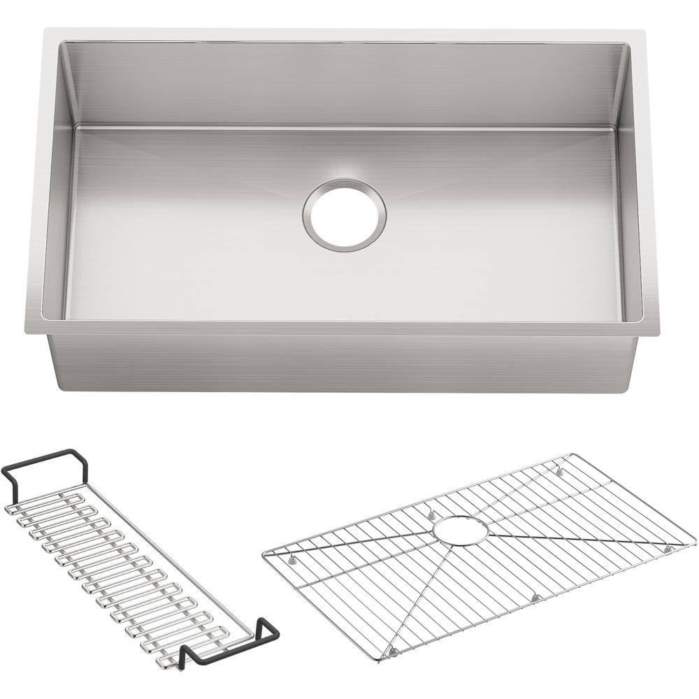KOHLER Strive Undermount Stainless Steel 32 in. Single Bowl Kitchen Sink with Included Accessories, Silver