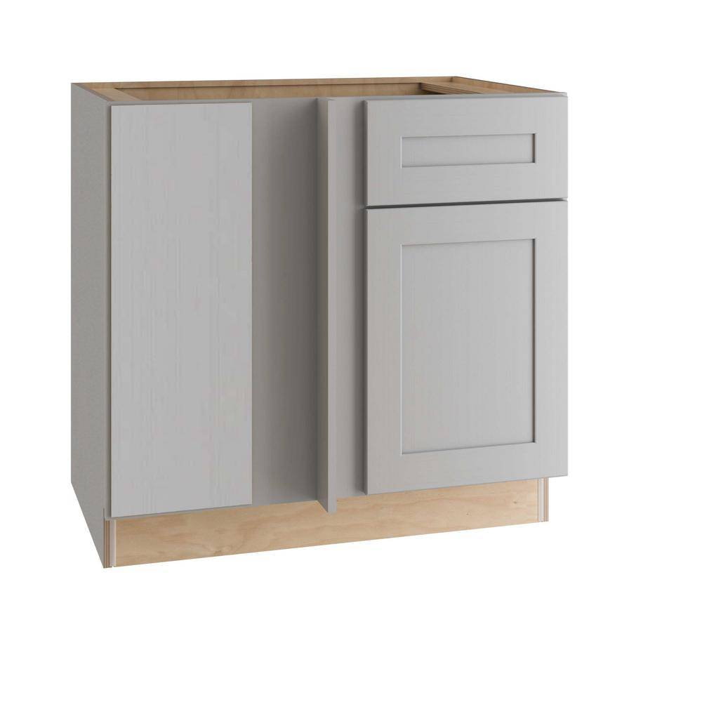 Home Decorators Collection Tremont Assembled 42 x 34.5 x 24 in Plywood Shaker Blind Corner Base Kitchen Cabinet Lt Soft Close in Painted Pearl Gray, Gray Painted