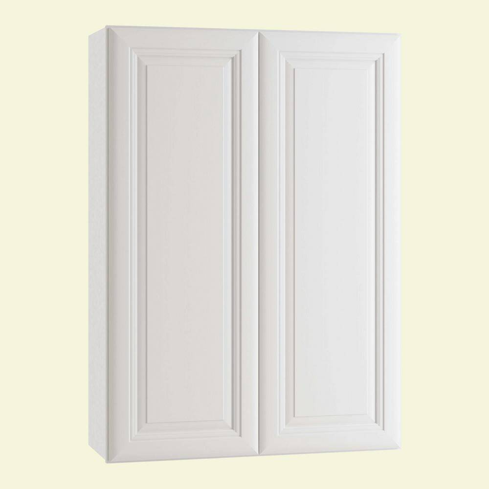 Home Decorators Collection Brookfield Assembled 27 x 36 x 12 in. Plywood Mitered Wall Kitchen Cabinet Soft Close in Painted Pacific White