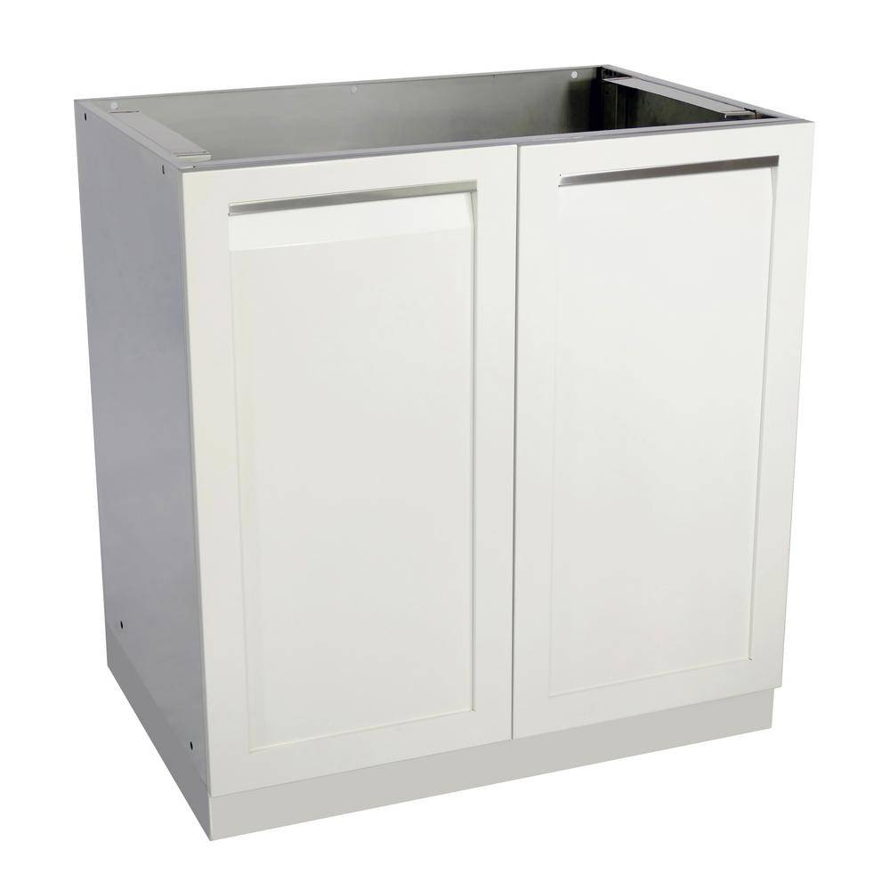 4 Life Outdoor Stainless Steel Assembled 32x35x22.5 in. Outdoor Kitchen Base Cabinet with 2 Full Height Powder Coated Doors in White
