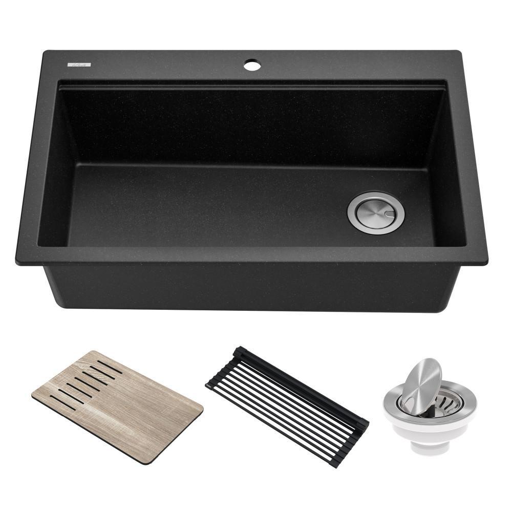 KRAUS Bellucci Metallic Black Granite Composite 33 in. Single Bowl Drop-In Workstation Kitchen Sink with Accessories